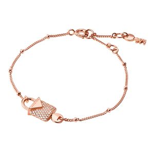 Preview image of Michael Kors 14K Rose Gold Plated Sterling Silver Pavé Lock Bracelet