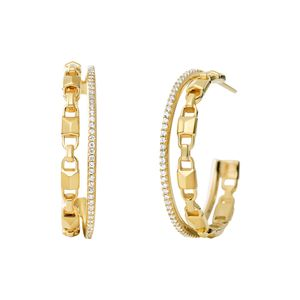 Preview image of Michael Kors 14K Yellow Gold-Plated Sterling Silver Mercer Link Pavé Halo Hoops