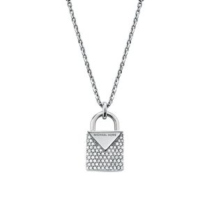 Preview image of Michael Kors Rhodium Plated Sterling Silver Pavé Heart Necklace