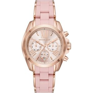 Preview image of Michael Kors Bradshaw Rose Gold and Pink Silicone Bracelet Watch