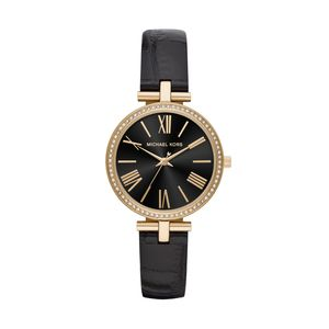 Preview image of Michael Kors Maci Yellow Gold Tone Black Leather Strap Ladies Watch