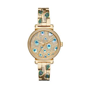 Preview image of Michael Kors Sophie Yellow Gold Plated Stone Set Peacock Dial Bracelet Watch