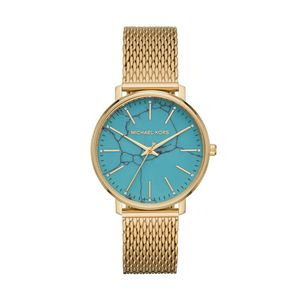 Preview image of Michael Kors Pyper Gold Plated Turquoise Mesh Bracelet Watch