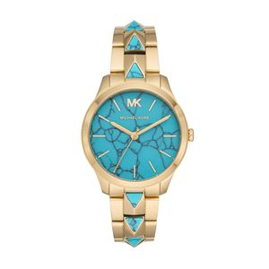 Preview image of Michael Kors Blue Dial Yellow Gold Plated Runway Bracelet Watch