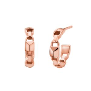 Preview image of MICHAEL KORS Rose Gold Plated Sterling Silver Mercer Link Mini Hoops