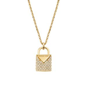 Preview image of Michael Kors 14K Yellow Gold Plated Pave Padlock Necklace
