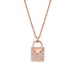 Preview image of Michael Kors 14K Rose Gold Plated Pave Padlock Necklace