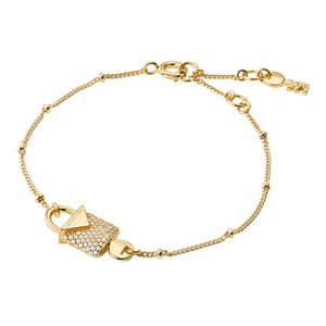 Preview image of Michael Kors 14K Yellow Gold Plated Sterling Silver Pavé Lock Bracelet