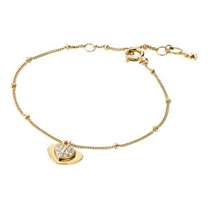 Preview image of Michael Kors Yellow Gold Plated Sterling Silver Pavé Heart Bracelet