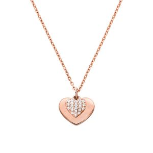 Preview image of Michael Kors Rose Gold Plated Sterling Silver Pavé Heart Necklace
