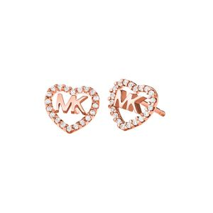Preview image of Michael Kors Rose Plated Stone Set Heart Logo Studs
