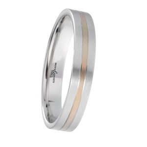 Preview image of 9ct White and Rose Gold 3mm Two Tone Ladies Wedding Ring