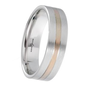 Preview image of 9ct White and Rose Gold 6mm Two Tone Gents Wedding Ring