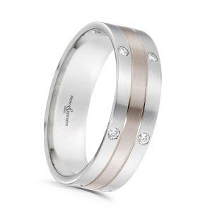 Preview image of 18ct Rose Gold & Platinum 4mm Diamond Set Ladies Wedding Ring