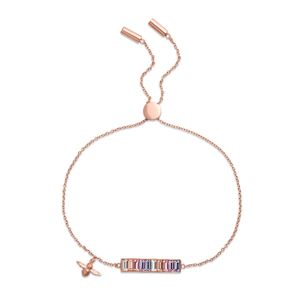 Preview image of Olivia Burton Rainbow Bee Bar Rose Gold Bracelet