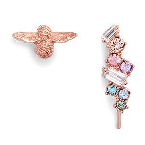 Preview image of Olivia Burton Rose Gold Rainbow Bee Crawler & Stud