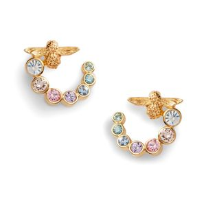 Preview image of Olivia Burton Rainbow Bee Swirl Gold Hoop Earrings