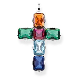 Preview image of Thomas Sabo Sterling Silver Multi-gem Cross Pendant