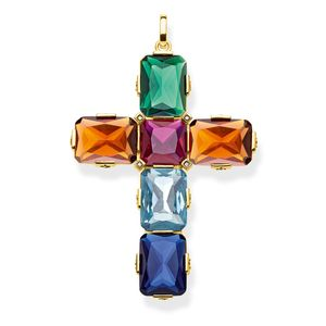 Preview image of Thomas Sabo Yellow Gold Plated Multi Stone Large Cross Pendant