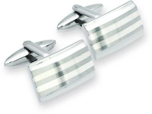 Preview image of Unique Steel and Silver Inlay Stripe Cufflinks