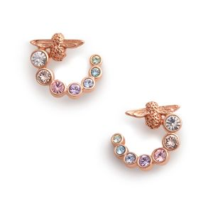 Preview image of Olivia Burton Rainbow Bee Swirl Rose Gold Hoop Earrings