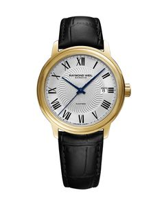 Preview image of Raymond Weil Maestro Silver with Black Indexes Automatic Strap Watch