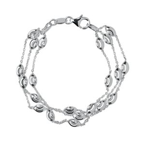 Preview image of Links of London Essentials Sterling Silver Beaded Chain 3 Row Bracelet
