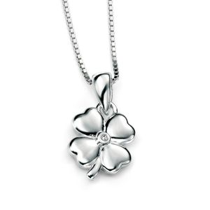 Preview image of D for Diamond Four Leaf Clover Pendant
