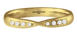 Preview image of 9ct Yellow Gold 3mm Shape to Fit Ladies 0.09ct Diamond Wedding Ring