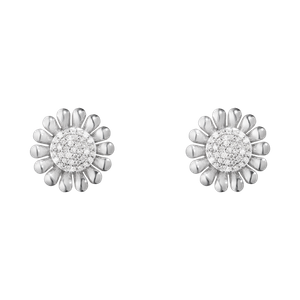 Preview image of Georg Jensen Sterling Silver Diamond Sunflower Studs