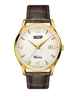 Preview image of Tissot VisoDate Yellow gold plated Gents Brown Leather Strap Watch