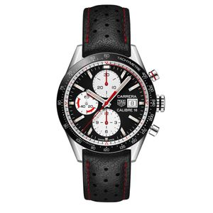 Preview image of Tag Heuer Carrera Chronograph Calibre 16 Black & White Strap Watch