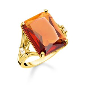 Preview image of Thomas Sabo Yellow Gold Plated Orange Stone Cocktail Ring Size 54