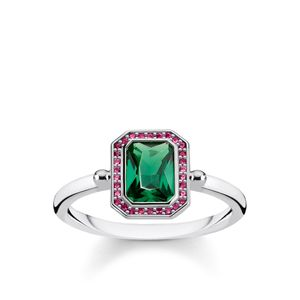 Preview image of Thomas Sabo Red and Green Stone Octagon Ring