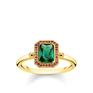 Preview image of Thomas Sabo Yellow Gold Plated Red and Green Octagon Ring