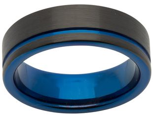 Preview image of Unique Tungsten Blue Groove Gents Ring