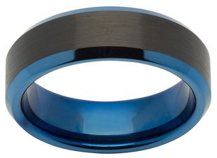 Preview image of Unique Tungsten and Blue Steel Gents Ring
