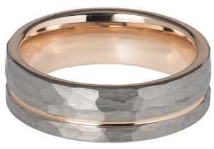 Preview image of Unique Tungsten and Hammered Rose Gold Gents Ring