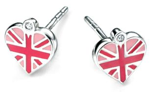 Preview image of D for Diamond Union Jack Heart Earrings