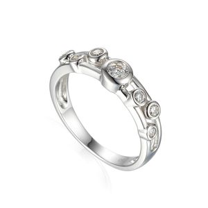 Preview image of 18CT WHITE GOLD DIAMOND .31 BUBBLE RING