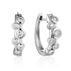 Preview image of 18CT WHITE GOLD DIAMOND .42 BUBBLE HOOP EARRINGS