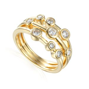 Preview image of 18CT GOLD DIAMOND .50 THREE ROW BUBBLE RING