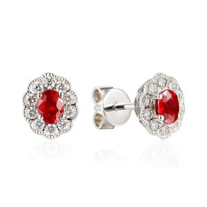 Preview image of 18CT WHITE GOLD RUBY .47 & DIAMOND .24 CLUSTER EARRINGS