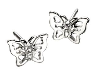 Preview image of D for Diamond Sterling Silver Butterfly Studs