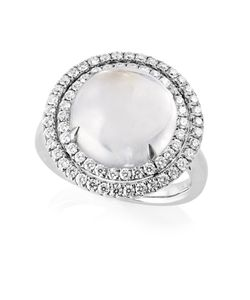 Preview image of 18CT WHITE GOLD MOONSTONE 7.27 & DIAMOND .68 RING