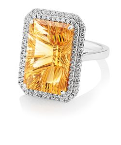 Preview image of 18CT WHITE GOLD CITRINE 12.63 & DIAMOND .70 RING - FANTASY CUT