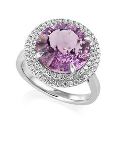 Preview image of 18CT WHITE GOLD AMETHYST 5.46 & DIAMOND .48 RING - FANTASY CUT