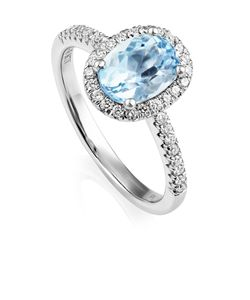Preview image of 18CT WHITE GOLD AQUAMARINE 1.38 & DIAMOND .27 RING