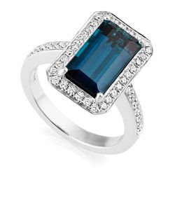 Preview image of 18CT WHITE GOLD BLUE TOURMALINE 4.08 & DIAMOND .44 RING
