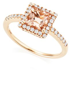 Preview image of 18CT ROSE GOLD MORGANITE 1.08 & DIAMOND .26 RING